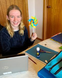 Sophie home-learning & completing her wind power project